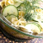 Kim's Summer Cucumber Pasta Salad - A simple vinegar dressing coats cucumber and onion slices and bow tie pasta for a cool cucumber salad.