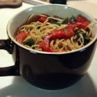 Asian Pasta - A great summertime vegetarian pasta side dish with sesame oil, soy sauce, cilantro and red bell pepper.