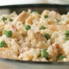 Chicken Carbonara Risotto - Sautéed chicken, simmered in creamy chicken soup with green peas and rice ... stir in the Parmesan and dinner's ready!