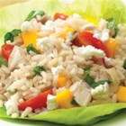 Mango Basil Chicken and Brown Rice Salad - Serve as a salad or even a wrap ... zippy balsamic vinaigrette, fresh basil and mango, with chicken and whole-grain brown rice.  Oh, and, don't forget the cheese.