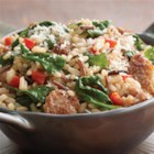 Brown and Wild Rice with Sausage - Perfect side-dish (or, main?) recipe idea ... start with Minute Ready to Serve Brown and Wild rice, crumbled sausage, roasted red peppers, and fresh baby spinach.  Top it off with Parmesan cheese.