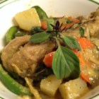 Thai Chicken Curry in Coconut Milk - This curry dish uses fish sauce, curry paste, and light coconut milk.