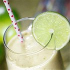 Banana Mint Slush - This easy banana smoothie is garnished with lime zest and fresh mint leaves.