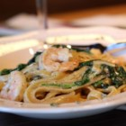 Florentine Fettuccini - This is a quick pasta dish with fresh spinach and garlic in a creamy Parmesan cheese sauce.