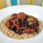 Pacific Cuban Black Beans and Rice - A pot of black beans and chorizo sausage simmered with a variety of spices goes atop rice for a dining experience inspired by Cuban cuisine.