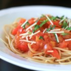 Tomato Pepper Sauce - Passed down from my grandparents, this recipe is a great way to use the extra tomato and peppers from the garden! Quick, easy and also very healthy! A nice warm lunch for the veggie lover! Makes its own sauce and can be canned for the winter months. Serve over sliced fresh buttered bread and a few shakes of salt and pepper.