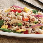 Chicken and Multi-Grain Stir Fry - Multi-grain delicious-ness simmered in chicken broth – lightly scrambled eggs with just the right touch of fresh garlic and onion and lots of fresh veggies.