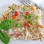 Chicken and Chinese Noodles Casserole - You can have a baked casserole completed in under an hour using rotisserie chicken, chow mein noodles, and cream of mushroom soup.
