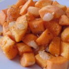 Diced Sweet Potatoes with Onions and Garlic - Sweet potatoes are baked with onion and garlic for a tasty and colorful side dish that goes well with any meal.