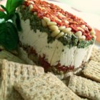 Dip For The Stars - A delectable layered dip for any special occasion made with feta and cream cheese, pesto, pine nuts and sun-dried tomatoes. Looks beautiful on the table, tastes heavenly on your tongue!