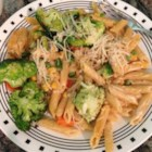 Penne Primavera - Sauteed broccoli, carrots, and peas serve as the summertime toppings for penne pasta.