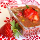 Strawberry Gazpacho - A big bowl of chilled sweet and slightly spicy gazpacho made with strawberries, fresh garden veggies, and avocado would be just the thing for a light meal on a hot summer day.