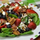 Christina's Salad - Poppy and sesame seeds are shaken together in a vinaigrette dressing that lightly coats strawberries, pecans, and goat cheese for a light summer salad.