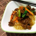 Japchae - Japchae, a traditional Korean dish, made with sweet potato noodles, beef, and vegetables stir-fried in a sesame oil-based sauce is a delicious and colorful meal.