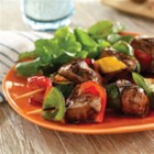 Sweet Heat Beef Teriyaki Marinade - Sweet marmalade and hot Sriracha sauce bring out the rich flavor of these grilled top sirloin and veggie kabobs.