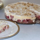 Rhubarb Cheesecake - An exquisite cheesecake made with fresh rhubarb and finished with sour cream topping.