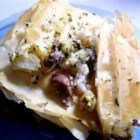 Kreatopita Argostoli - A spicy Greek dish made with lamb and feta cheese in a phyllo pastry.