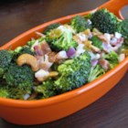 Broccoli-and-Bacon Salad - Broccoli and bacon, of course, but also raisins and cashews in a salad dressed with a creamy mayonnaise-based dressing.