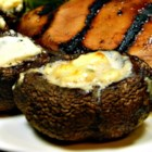 Grilled Portobello Mushrooms with Blue Cheese - Grilled portobello mushrooms filled with blue cheese are a rich pizza topper or side dish to grilled steak and asparagus.