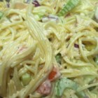 Rhonda's Confetti Spaghetti Pasta Salad - Confetti spaghetti pasta salad has plenty of diced veggies, crabmeat, and tuna for a hearty summer salad.