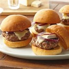 Beef and Brie Sliders - Brie cheese melted on grilled ground beef sliders is a reminder how classy these casual mini burgers can be. Dijon-style mustard, pepper, and VOSKOS(R) Nonfat Blueberry Greek Yogurt turn them juicy and aromatic. Don't forget to toast the bun.