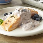 Greek Salmon with Blueberry Tzatziki - So-moist broiled herbed salmon complements this sauce--a refreshing blueberry twist on the classic Greek tzatziki sauce. Creamy blueberry Greek yogurt, crushed fresh blueberries, some lemon peel, and garlic transform the sauce into a refreshing new topper for this healthful fish.