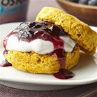 Pumpkin Shortcakes with Blueberry Cream Filling - Pumpkin and blueberries bring their cache of great color and flavor to this easy dessert. The so-tender golden shortcake is split and filled with the perfect blend: fluffy whipped cream-blueberry Greek yogurt and a simple fresh blueberry sauce. Be prepared to share the recipe.