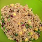 Amanda's Quinoa Salad - Toss quinoa with salsa, dried cranberries, sunflower seeds, green onions, and French vinaigrette for a new way to eat quinoa!