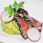 Sesame-Crusted Tuna with Summer Salsa - Sesame seeds encrust succulent grilled tuna, that's grilled and served with a zesty avocado-mango salsa that gets its kick from lime juice, ground ginger, and wasabi powder.