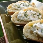 Romano Cheese Crisp - French bread topped with a delicious cheese spread makes for great finger food.