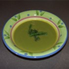 Asparagus Soup II - The tips of the fresh asparagus in this recipe are reserved to use as garnish with this pureed soup made with leeks and white rice cooked in broth or water.
