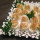 Classic Deviled Eggs - Finely chopped celery and onion give these classic deviled eggs a nice crunch.