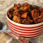 Indian Curry Potato Fries - Potato cubes are fried in Indian-inspired spices for a perfect accompaniment to a curry dish. Serve alongside tamarind chutney for dipping.