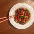 Spicy Peanut Chicken Stir-Fry - Peanut chicken stir-fry gets a little spicy thanks to cayenne pepper added to the sauce. Serve over rice!