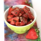 Fragola Pazzo (Crazy Strawberry) - Fragola pazzo, Italian for 'crazy strawberry', is a dessert of strawberries marinated in a sweetened balsamic sauce and topped with grated chocolate.