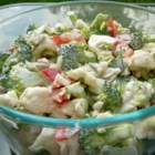 Broccoli Cauliflower Pepita Salad - Pepitas (pumpkin seeds) give this salad a nutty, chewy crunch, and the light, bright-tasting dressing accents the hearty veggie mix.