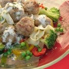 Swedish Meatballs II - Sauteed onion is combined with ground beef, bread crumbs, egg, and parsley, formed into meatballs, browned, and set aside. Pan drippings are combined with evaporated milk and flour for gravy.