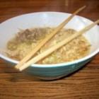 Low-Cholesterol Egg Drop Noodle Soup - A quick, satisfying bowl of egg drop soup for those watching their cholesterol, using egg replacement, ramen noodles, and prepared chicken broth.