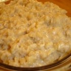 Butterscotch Oatmeal - Oatmeal is cooked in milk with brown sugar and butter for a tasty butterscotch flavor. The best oatmeal I've ever had. No need to top this with sugar afterwards. Good with or without milk.