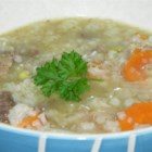 Scotch Broth I - Meaty beef bones and whole peppercorns provide the base for this hearty soup with carrots, turnips, celery and pearl barley.