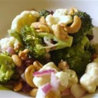 Broccoli Salad I - Crunchy, crumbly bacon, sunflower seeds and beautiful golden raisins, speckle this very green salad and add lots and lots of flavor. The dressing is mayonnaise based, with sugar and red wine vinegar stirred in.