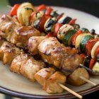 Yummy Honey Chicken Kabobs - A marinade made with honey, soy sauce, pepper, and garlic puts a sweet coating on chicken pieces in this honey chicken shish kabob.