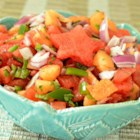 Watermelon Tomato Salsa - Watermelon and cantaloupe add sweetness to this salsa recipe.