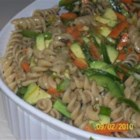Avocado Whole Wheat Pasta Salad - Avocado pasta salad with plenty of veggies and a simple vinaigrette dressing is a colorful and hearty side dish.