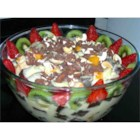 English Trifle - Fruit cocktail, gelatin, wine, and cubes of sponge cake are combined, then topped with custard pudding and a whipped topping.  The fruit layer of this dessert may be made a day or two ahead.