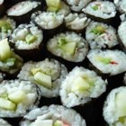 Cucumber and Avocado Sushi - Cucumber and avocado sushi! These rolls are easy to make and you can add either fake crab or smoked salmon. Serve with teriyaki or soy sauce and wasabi!