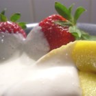 Unbelievably Good Fruit Dip - This creamy fruit dip has only three ingredients. If you want a simple dip that's the perfect complement to fruit, especially strawberries, please try this one.