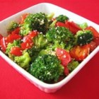 Sesame Broccoli - Need a quick and easy side dish? Broccoli and bell pepper are stir fried with sesame seeds for a tasty side dish that complements any meal.