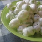 Snow Grapes - Seedless grapes are encased in a sweet creamy dressing for an easy fruit salad.