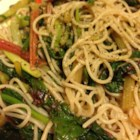 Chard Stalks and Garlic Scape Pasta - Similar in appearance to green onions, garlic scapes lend their unique flavor to this vermicelli pasta dish.